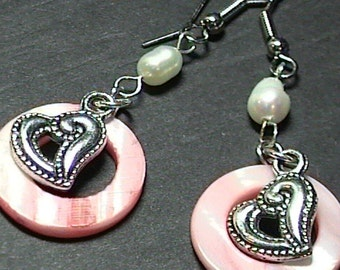 Pink Shell and Pearl Beaded Heart Dangle Earrings ~ Handmade Victorian Romantic Earrings
