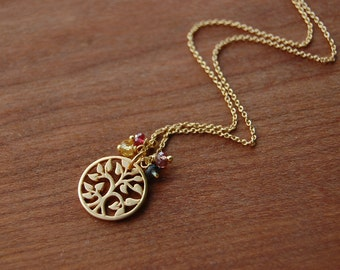 Gold Filled Tree of Life and Multicolor Sapphire- Very Limited Edition