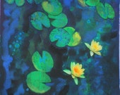 Green of summer, 11x17, Koi, art, Fine art photography, with mixed medias, water lily, navy blue decor, lotus, fish, art, pond