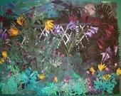 Moonrise ,Cut paper, Original Acrylic on paper collage 24x30 inches, Sunflower, garden, art, floral, office decor, women, moon