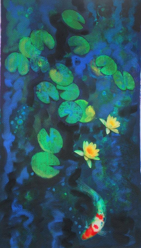 Green of summer, 11x17, Koi, art, Fine art photography, with mixed medias, water lily, #navy blue decor #art #wall art #ponds #Koi art #fish