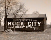 See Rock City Sepia Photography Barn Landscape Photograph Barn Sign Kentucky Rural America Home Office Photograph Print