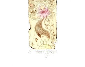 etching, Peace, lotus flower, sepia, pink, romantic, girl, hair, flower, zen, original art, printmaking, home interior, romantic art, spring