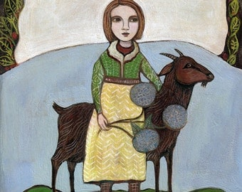 Greeting Card, Two Companions, girl, goat, farm