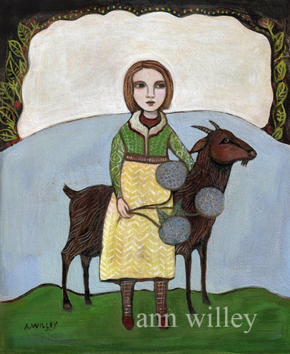Greeting Card, Two Companions, girl, goat, farm