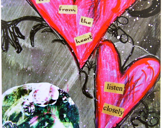 From the Heart, Mixed Media Greeting Card, Size 5x7, Card Print, Blank Inside