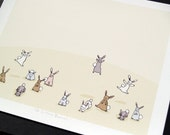 Oh so many bunnies- Archival Print of Original Illustration