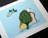 Stuffed Artichoke- Signed Archival Print of Original Illustration