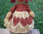 Pattern Rag doll Primitive cloth rag xoxo Raggedy Ann