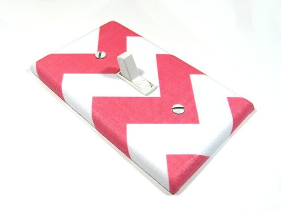 Light Switch Cover White and Pink Chevron Riley Arrow Girls Nursery Decor Switch Plate Switchplate