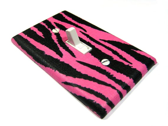 Hot Pink And Black Zebra Stripes Light Switch By Modernswitch
