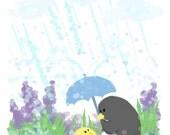 April Showers- Art Print (Penguin & Peep) 8 x 10