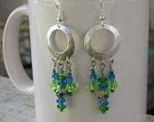 Blue Skies, Green Grass and Enameled Flowers - Earrings