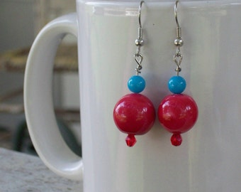 Luscious Pink and Blue Earrings