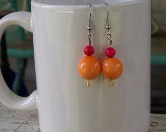Peachy Pink Handmade Earrings
