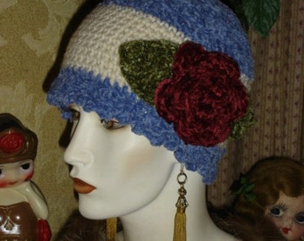 Crochet Flapper Hat Blue and Ivory Chenille Cabbage Rose Pin Cloche Skullcap