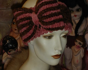 Womens Headband Hat Pink and Brown Chenille Bow Pin Flapper Bandeau