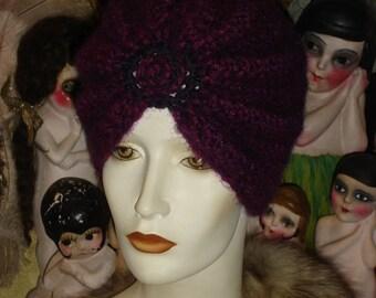 Fuzzy Soft Rasberry & Purple Flapper Swami Turban hat