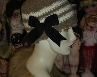 Taupe and White Striped Flapper Chenille Skullcap Hat