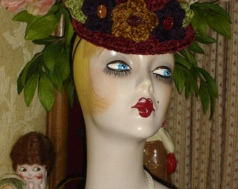 Womens Crocheted Flapper Mini Hat Chenille Posies Boater Style