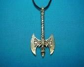 Battle Axe Pendant, Jewelry, Necklace, Silver Pewter, Handmade, Handcast, Lead Free STK089