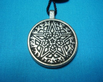 Small Circular Celtic Knotwork Flaming Pentacle Pendant in Silver Pewter, Handmade, Handcast STK081