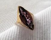 Art Deco Marquise Cut Amethyst Gold Ring