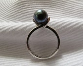 Black Freshwater Cultured Pearl Sterling Silver Ring