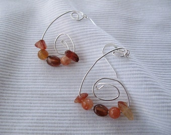 Multi Gemstone Sterling Silver Spiral Dangle Earrings