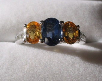 Blue and Yellow Sapphire with Diamonds White Gold Ring