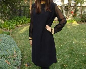 Vintage 60s Sheer Sleeve Dress M/L