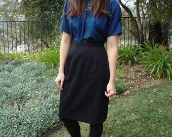 ViIntage Black Wool Pencil Skirt S