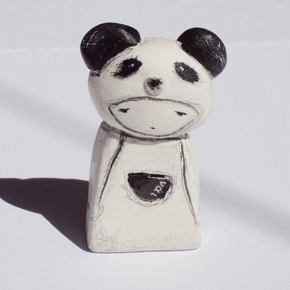 panda girl in a box - mini clay doll