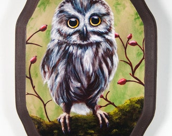 Owl Wooden Plaque Mounted Print of Painting