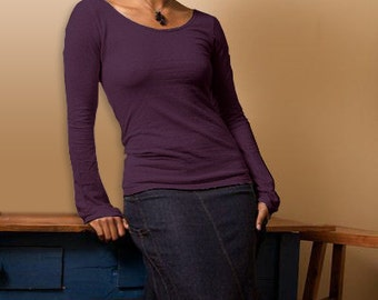 Closeout // Aubergine // Long Sleeve Scoop Shirt  // Hemp & Organic Cotton // Eco Fashion