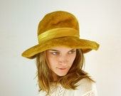 Mustard Yellow Hat - Velveteen 1960s Hat