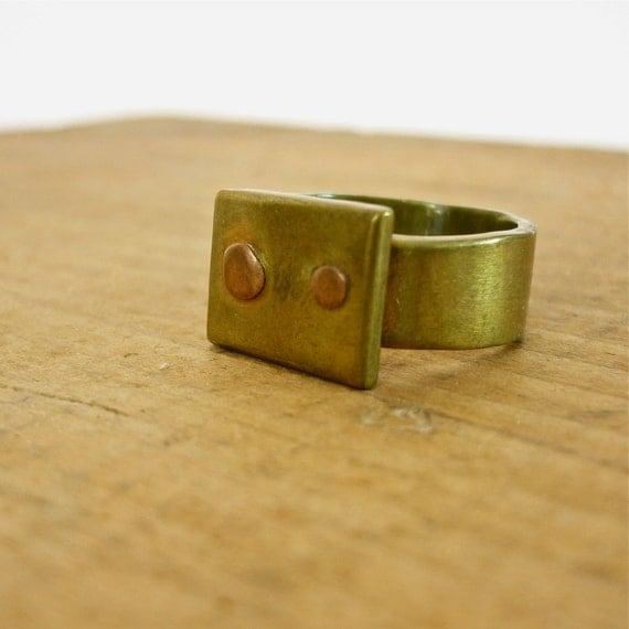 Vintage Brass Ring - Modernist Ring
