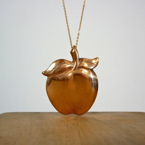 Apple Necklace - Vintage Copper Apple Pendant