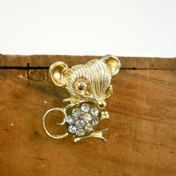 Mouse Brooch - 1950s Vintage Pin