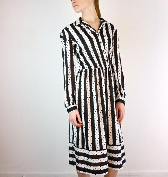 Striped Dress - Vintage 1970s Polka Dot Dress