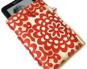Kindle Sleeve Cover Case - Padded -- Handmade -Amy Butler Wallflower Red