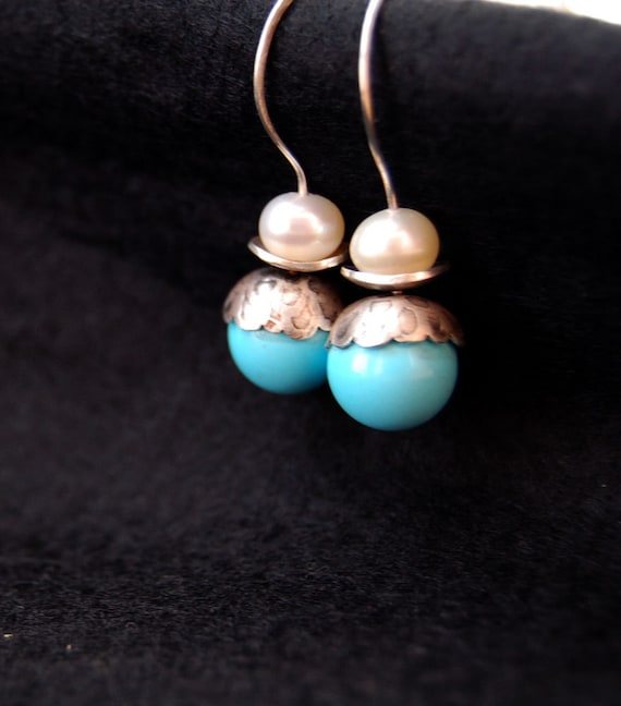 Patterns-Sterling silve, turquoise and freshwater pearl earrings.