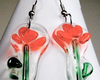Spring Flowers In Bloom - Fused Glass Earrings