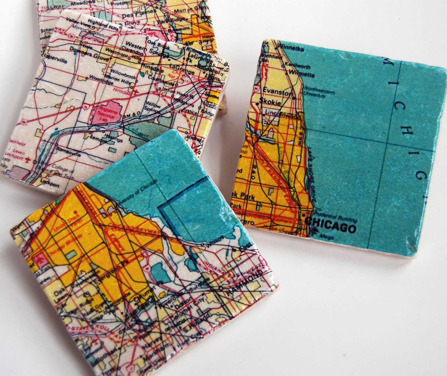 Chicago Map Coasters - Chicago map etsy