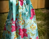 Girls Boutique Dress Pillowcase Style in Songbird Jewel Fabric with Blue Ribbon Ties