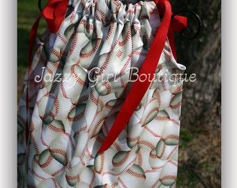 Girls Pillowcase Dress in The Baseball Fabric with Red Ribbon Ties Sz 6mo, 12mo, 18mo, 2T, 3T, 4T, 5 Sz 6, 7, 8 Three Dollars More
