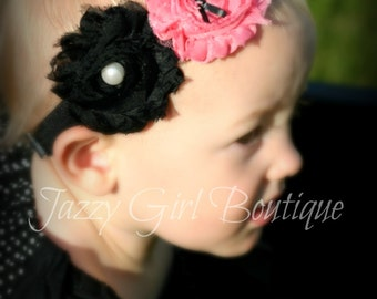 Girls Boutique Double Flower Headband  Shabby Roses Pink and Black with Pearl and Bow Centers On Soft FOE Elastic
