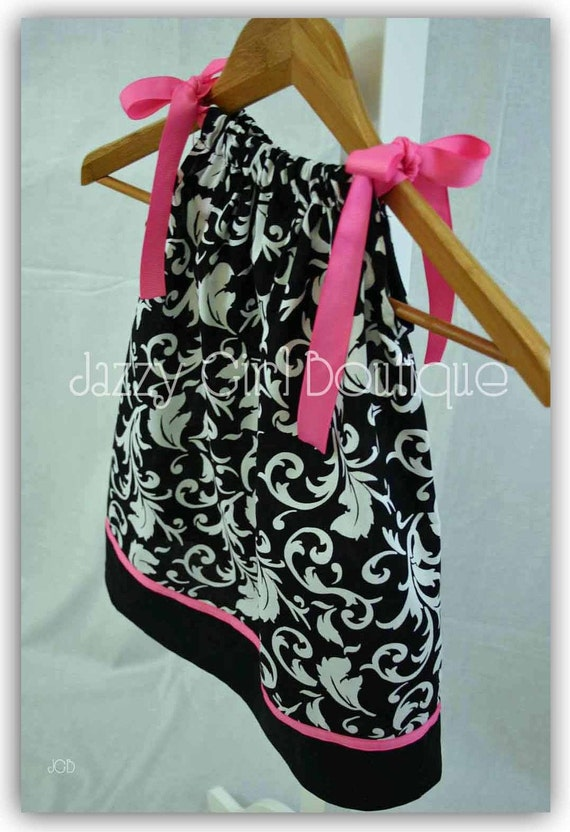 Girls Pillowcase Dress in The Black and White Scroll Fabric with Pink Accents sz 6mo - 5 Sz 6 7 8 Three Dollars More