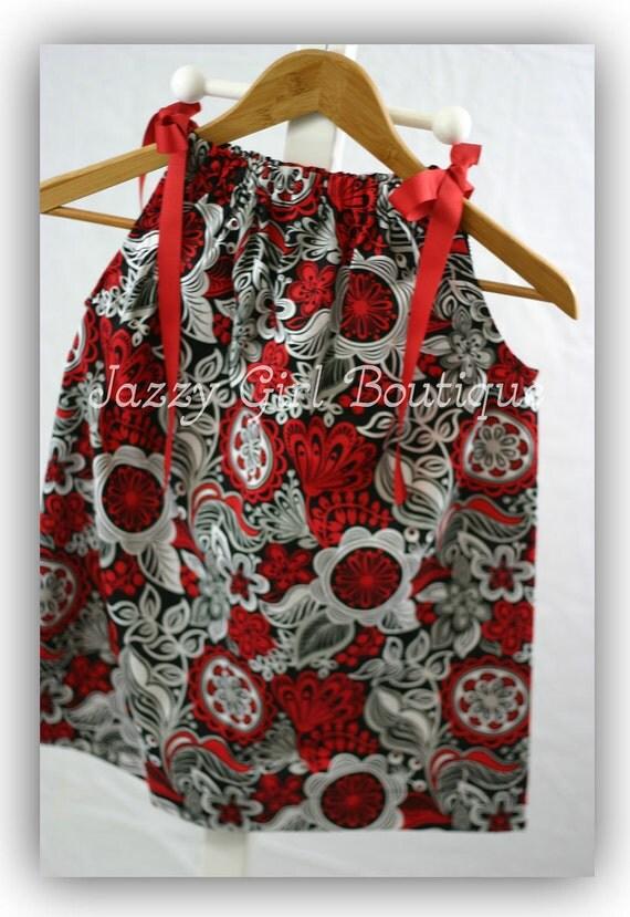 Girls Dress Red Dress Flowered Dress Pillowcase Dress Floreo Floral W- Red Ribbon Ties 6mo, 12mo, 18mo, 2T, 3T, 4T, 5