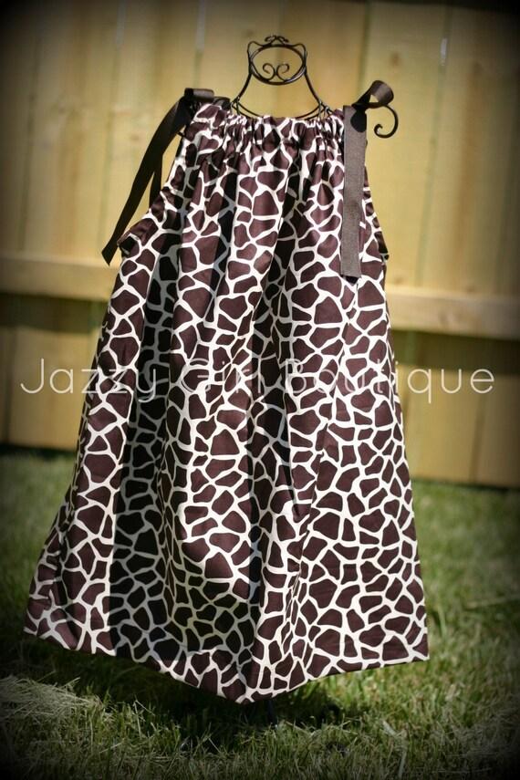 Girls Pillowcase Dress Brown Giraffe with Brown Ribbon Ties Sz 6mo, 12mo, 18mo, 2T, 3T, 4T, 5 Sz 6, 7, 8 Three Dollars More